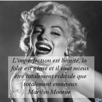 L'imperfection est  beauté , la  folie  est génie et il vaut mieux être totalement ridicule que totalement ennuyeux.