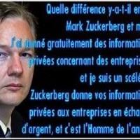 Quelle est la  différence  entre Mark Zuckerberg (Facebook) et moi ? Je vous  livre  gratuitement des informations privées appartenant à des  sociétés , et je suis un bandit. Zuckerberg livre vos données privées à des sociétés pour de l'argent, et il est l'Homme de l'Année.